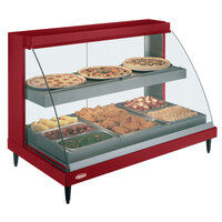 Hatco GRCDH-3PD Red 46 inch Glo-Ray Full Service Double Shelf Merchandiser with Humidity Controls - 1960W
