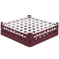Vollrath 52785 Signature Full-Size Burgundy 49-Compartment 4 13/16 inch Medium Plus Glass Rack