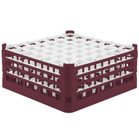 Vollrath 52787 Signature Full-Size Burgundy 49-Compartment 7 11/16 inch X-Tall Plus Glass Rack