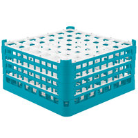 Vollrath 52788 Signature Full-Size Light Blue 49-Compartment 9 1/16 inch XX-Tall Plus Glass Rack