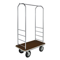 CSL 2099GY-010 Stainless Steel Finish Bellman's Cart with Rectangular Brown Carpet Base, Gray Bumper, Clothing Rail, and 8 inch Black Pneumatic Casters - 43 inch x 23 inch x 72 1/2 inch