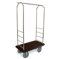 CSL 2099BK-040 Stainless Steel Finish Bellman's Cart with Rectangular Brown Carpet Base, Black Bumper, Clothing Rail, and 5 inch Gray Polyurethane Casters - 43 inch x 23 inch x 72 1/2 inch