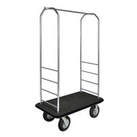 CSL 2099BK-010 Stainless Steel Finish Bellman's Cart with Rectangular Black Carpet Base, Black Bumper, Clothing Rail, and 8 inch Black Pneumatic Casters - 43 inch x 23 inch x 72 1/2 inch