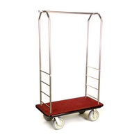 CSL 2099BK-050 Stainless Steel Finish Bellman's Cart with Rectangular Red Carpet Base, Black Bumper, Clothing Rail, and 8 inch Gray Polyurethane Casters - 43 inch x 23 inch x 72 1/2 inch