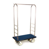 CSL 2099BK-050 Stainless Steel Finish Bellman's Cart with Rectangular Blue Carpet Base, Black Bumper, Clothing Rail, and 8 inch Gray Polyurethane Casters - 43 inch x 23 inch x 72 1/2 inch