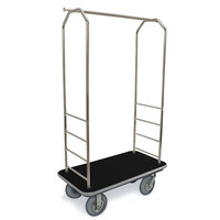 CSL 2099GY-020 Stainless Steel Finish Bellman's Cart with Rectangular Black Carpet Base, Gray Bumper, Clothing Rail, and 8 inch Gray Pneumatic Casters - 43 inch x 23 inch x 72 1/2 inch