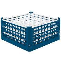 Vollrath 52788 Signature Full-Size Royal Blue 49-Compartment 9 1/16 inch XX-Tall Plus Glass Rack