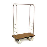 CSL 2099BK-050 Stainless Steel Finish Bellman's Cart with Rectangular Tan Carpet Base, Black Bumper, Clothing Rail, and 8 inch Gray Polyurethane Casters - 43 inch x 23 inch x 72 1/2 inch
