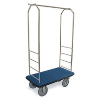 CSL 2099BK-040 Stainless Steel Finish Bellman's Cart with Rectangular Blue Carpet Base, Black Bumper, Clothing Rail, and 5 inch Gray Polyurethane Casters - 43 inch x 23 inch x 72 1/2 inch