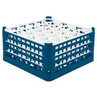 Vollrath 52845 Signature Lemon Drop Full-Size Royal Blue 30-Compartment 8 1/2 inch XX-Tall Glass Rack