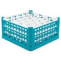 Vollrath 52845 Signature Lemon Drop Full-Size Light Blue 30-Compartment 8 1/2 inch XX-Tall Glass Rack