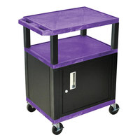 Luxor / H. Wilson WT34PC2E-B Purple Tuffy Two Shelf A/V Cart with Locking Cabinet - 24 inch x 18 inch x 34 inch