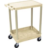 Luxor / H. Wilson STC21-P Putty Two Shelf Utility Cart - 1 Tub Shelf, 24 inch x 18 inch x 35 3/4 inch