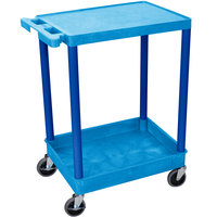 Luxor / H. Wilson BUSTC21BU Blue Two Shelf Utility Cart - 1 Tub Shelf, 24 inch x 18 inch x 35 3/4 inch