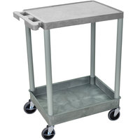 Luxor / H. Wilson STC21-G Gray Two Shelf Utility Cart - 1 Tub Shelf, 24 inch x 18 inch x 35 3/4 inch