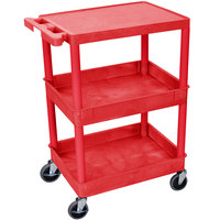 Luxor / H. Wilson RDSTC211RD Red Three Shelf Utility Cart - 2 Tub Shelves, 24 inch x 18 inch x 36 1/2 inch