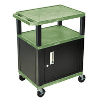 Luxor / H. Wilson WT34GC2E-B Green Tuffy Two Shelf A/V Cart with Locking Cabinet - 24 inch x 18 inch x 34 inch