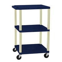 Luxor WT1642Z Navy Tuffy Open Shelf A/V Cart 18 inch x 24 inch with 3 Shelves - Adjustable Height