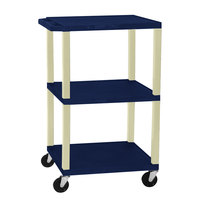 Luxor / H. Wilson WT1642Z Navy Tuffy Open Shelf A/V Cart 18 inch x 24 inch with 3 Shelves - Adjustable Height