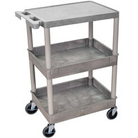 Luxor / H. Wilson STC211-G Gray Three Shelf Utility Cart - 2 Tub Shelves, 24 inch x 18 inch x 36 1/2 inch