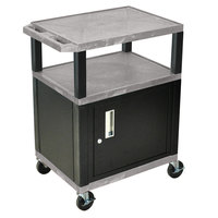 Luxor / H. Wilson WT34GYC2E-B Gray Tuffy Two Shelf A/V Cart with Locking Cabinet - 24 inch x 18 inch x 34 inch
