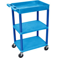 Luxor / H. Wilson BUSTC122BU Blue Three Shelf Utility Cart - 1 Tub Shelf, 24 inch x 18 inch x 36 1/2 inch