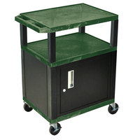 Luxor / H. Wilson WT34HGC2E-B Hunter Green Tuffy Two Shelf A/V Cart with Locking Cabinet - 24 inch x 18 inch x 34 inch