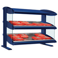 Hatco HXMS-24D Navy Blue LED 24 inch Slanted Double Shelf Merchandiser - 120V