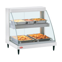 Hatco GRCDH-2PD White 33 inch Glo-Ray Full Service Double Shelf Merchandiser with Humidity Controls - 1210W