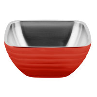 Vollrath 4761955 24 oz. Stainless Steel Double Wall Fire Engine Red Square Beehive Serving Bowl
