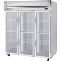Beverage Air HR3-1HG-LED 3 Section Glass Half Door Reach-In Refrigerator with LED Lighting - 74 cu. ft., SS Front, Gray Exterior