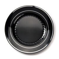 Fineline Silver Splendor 507BKS Black 7 inch Plastic Plate with Silver Bands - 15 / Pack