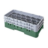 Cambro 17HS318119 Camrack 3 5/8 inch High Sherwood Green 17 Compartment Half Size Glass Rack