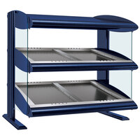 Hatco HZMS-42D Navy Blue 42 inch Slanted Double Shelf Heated Zone Merchandiser