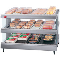 Hatco GR3SDS-39D Gray Granite Glo-Ray 39 inch Slated Double Shelf Heated Glass Merchandising Warmer