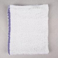 Choice 16 inch x 19 inch Blue Striped 32 oz. 100% Cotton Bar Towel - 12 / Pack