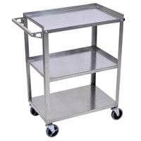 Luxor / H. Wilson SSC-3 Stainless Steel 3 Shelf Utility Cart - 16 inch x 28 1/4 inch x 34 1/4 inch
