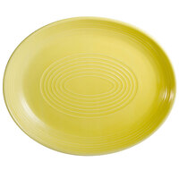 CAC TG-14C-SFL Tango 12 3/4 inch x 10 1/4 inch Sunflower Coupe Oval Platter - 12/Case
