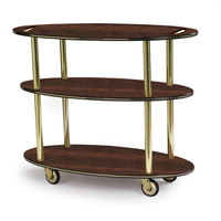 Geneva 36304 Oval 3 Shelf Laminate Table Side Service Cart with Handle Cutouts and Mahogany Finish - 23 inch x 44 inch x 35 1/4