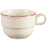 Homer Laughlin 1492-0314 Gothic Red Jade 7.5 oz. Off White Stacking Cup - 36/Case