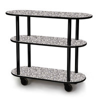 Geneva 36200 Oval 3 Shelf Laminate Table Side Service Cart with Gray Sand Finish - 16 inch x 42 3/8 inch x 35 1/4 inch