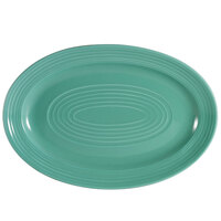CAC TG-51-G Tango 15 3/4 inch x 11 inch Green Oval Platter - 12/Case