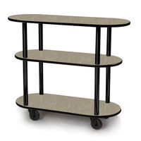 Geneva 36200 Oval 3 Shelf Laminate Table Side Service Cart with Beige Suede Finish - 16 inch x 42 3/8 inch x 35 1/4 inch