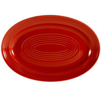 CAC TG-12-R Tango 10 5/8 inch x 7 3/4 inch Red Oval Platter - 24 / Case