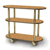Geneva 36200 Oval 3 Shelf Laminate Table Side Service Cart with Amber Maple Finish - 16 inch x 42 3/8 inch x 35 1/4 inch