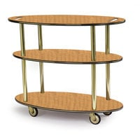 Geneva 36304 Oval 3 Shelf Laminate Table Side Service Cart with Handle Cutouts and Amber Maple Finish - 23 inch x 44 inch x 35 1/4