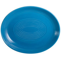 CAC TG-14C-PCK Tango 12 3/4 inch x 10 1/4 inch Peacock Coupe Oval Platter - 12/Case