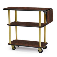 Geneva 36102 Rectangular 3 Shelf Laminate Tableside Service Cart with 10 inch Drop Leaf and Mahogany Finish - 16 inch x 48 inch x 35 1/4