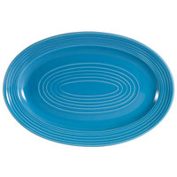 CAC TG-12-PCK Tango 10 5/8 inch x 7 3/4 inch Peacock Oval Platter - 24 / Case