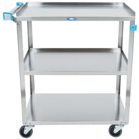 Lakeside 322 Standard Duty Stainless Steel 3 Shelf Utility Cart - 18 3/8 inch x 30 3/4 inch x 33 inch